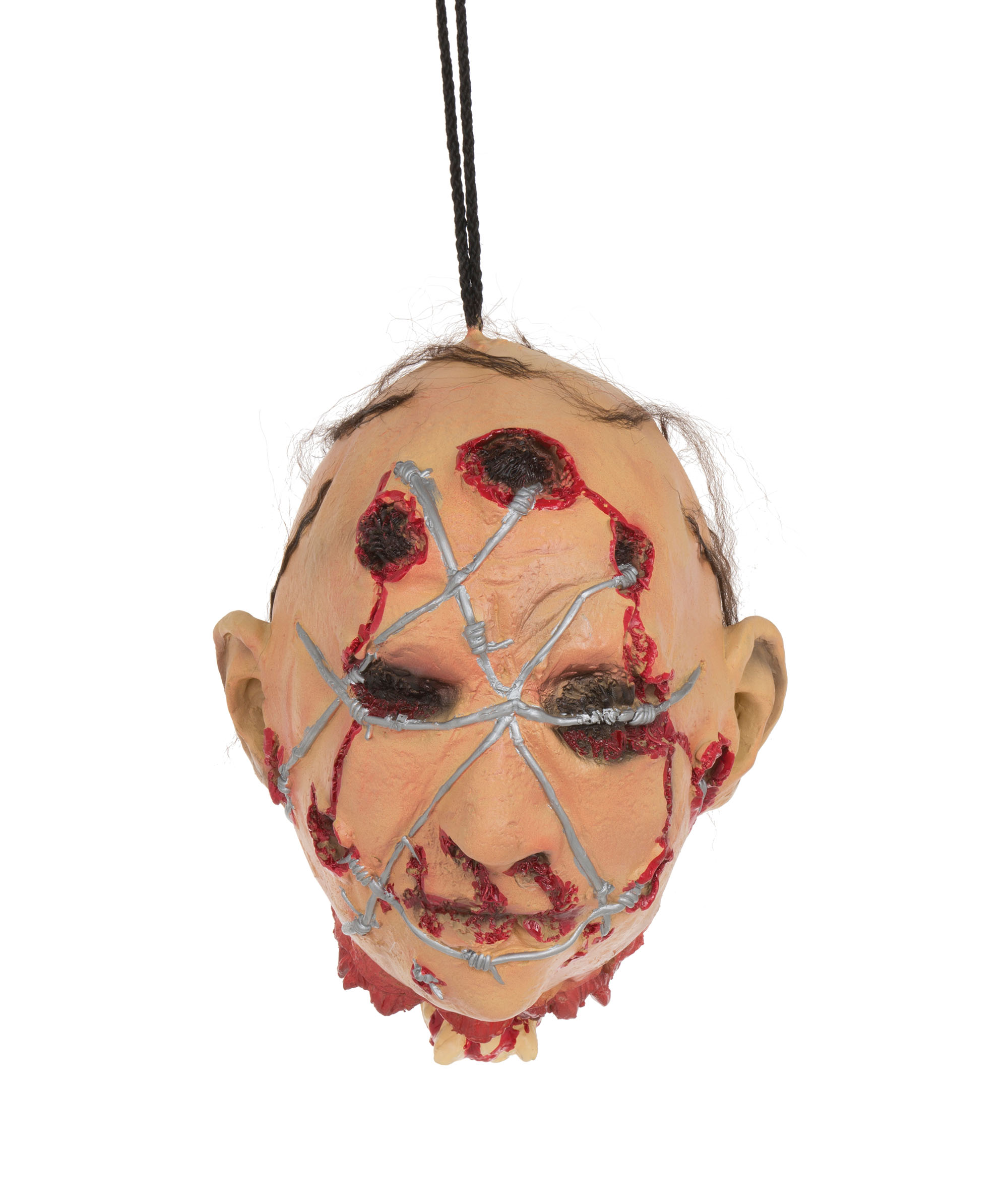 Head with Barbed Wire Hanging Prop